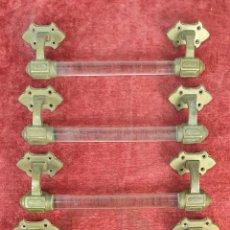 Antigüedades: 4 TIRADORES DE PUERTA. BARRA DE CRISTAL. SOPORTES DE BRONCE. SIGLO XIX-XX.. Lote 195278078