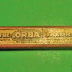 Antigüedades: CAJA VACIA ORIGINAL PARA NAVAJA DE AFEITAR O BARBERO: ORBA, HOLLOW GROUND NAVAJA DE SOLINGEN,. Lote 195282825