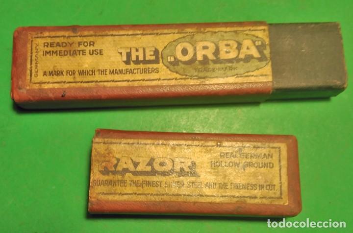 Antigüedades: CAJA VACIA ORIGINAL PARA NAVAJA DE AFEITAR O BARBERO: ORBA, HOLLOW GROUND NAVAJA DE SOLINGEN, - Foto 3 - 195282825
