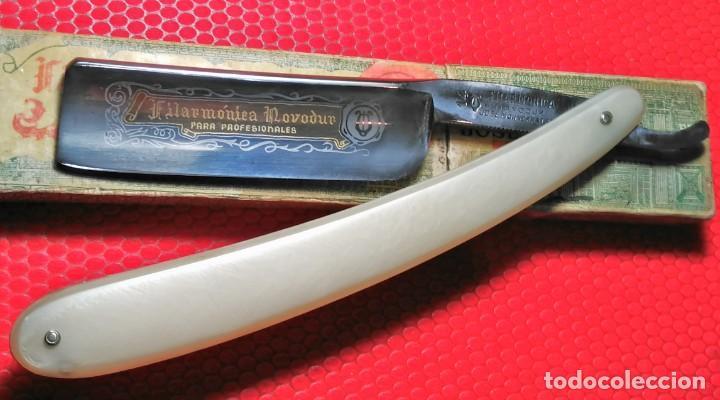 Antigüedades: NOVODUR para PROFESIONALES FILARMONICA 14, caja Original. navaja afeitar straight razor, Rasoio - Foto 3 - 195310892