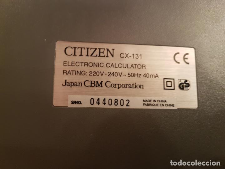 Antigüedades: antigua maquina calculadora citizen CX-131 funcionando muy buen estado ver fotos - Foto 5 - 195315881
