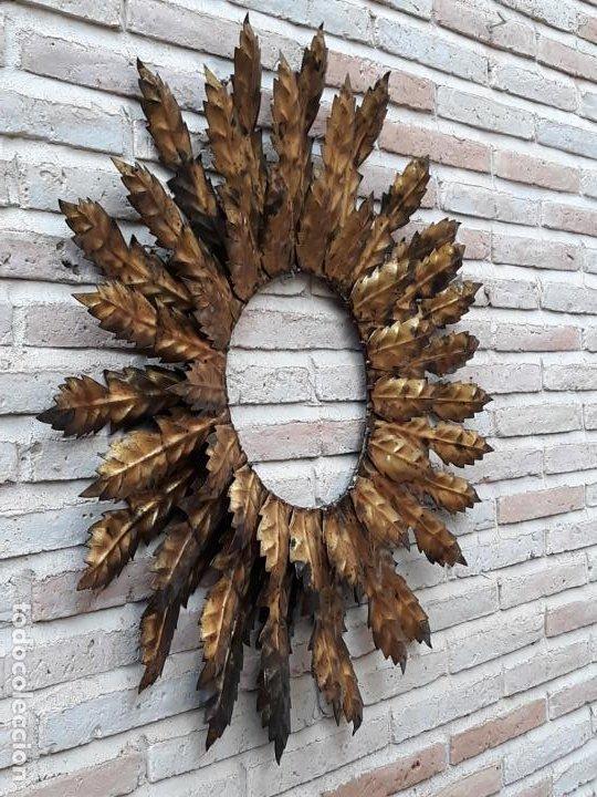 Antigüedades: ESPEJO ANTIGUO SOL EN HIERRO FORJADO - VINTAGE. - Foto 5 - 195322081