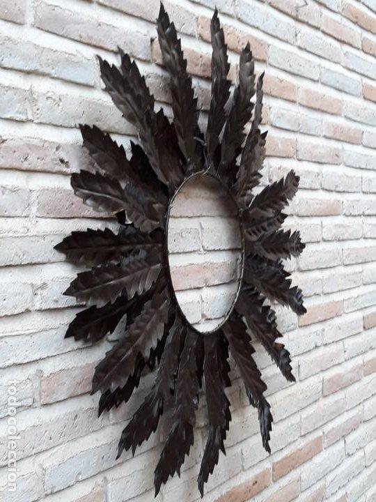 Antigüedades: ESPEJO ANTIGUO SOL EN HIERRO FORJADO - VINTAGE. - Foto 6 - 195322081