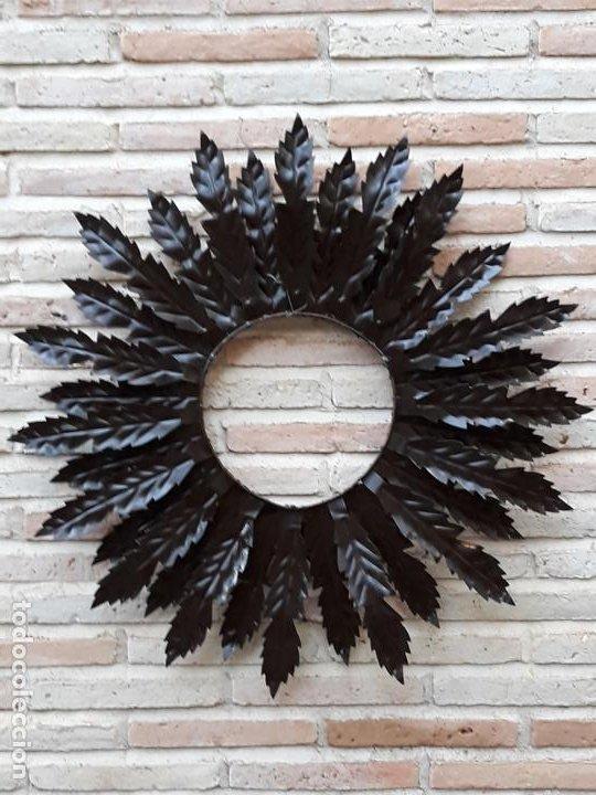 Antigüedades: ESPEJO ANTIGUO SOL EN HIERRO FORJADO - VINTAGE. - Foto 7 - 195322081