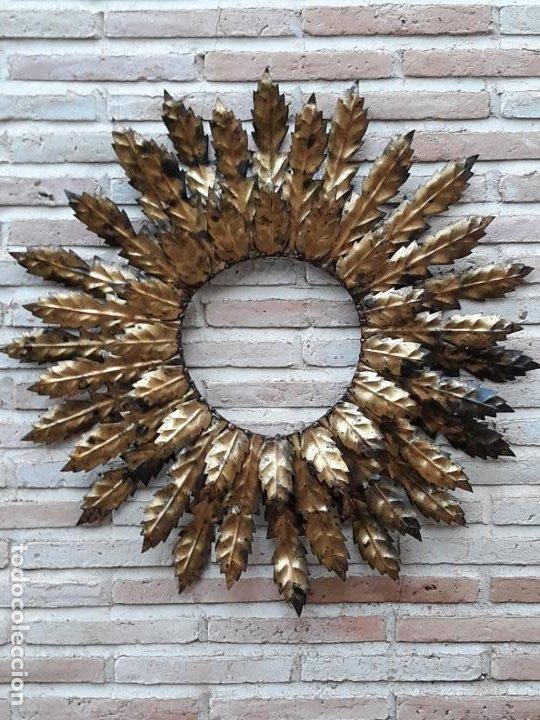 Antigüedades: ESPEJO ANTIGUO SOL EN HIERRO FORJADO - VINTAGE. - Foto 8 - 195322081