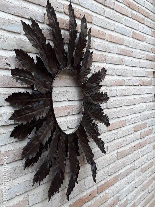 Antigüedades: ESPEJO ANTIGUO SOL EN HIERRO FORJADO - VINTAGE. - Foto 9 - 195322081
