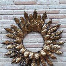 Antigüedades: ESPEJO ANTIGUO SOL EN HIERRO FORJADO - VINTAGE.. Lote 195322081