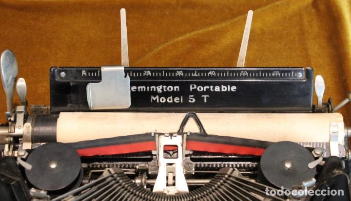 Antigüedades: Máquina de escribir Remington Portable 5T, funciona,completa y con maletín original - Foto 7 - 195331478