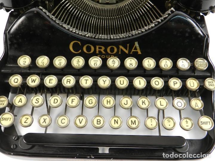 Antigüedades: MAQUINA DE ESCRIBIR CORONA Nº4 AÑO 1932 TYPEWRITER SCHREIBMASCHINE - Foto 4 - 195341130