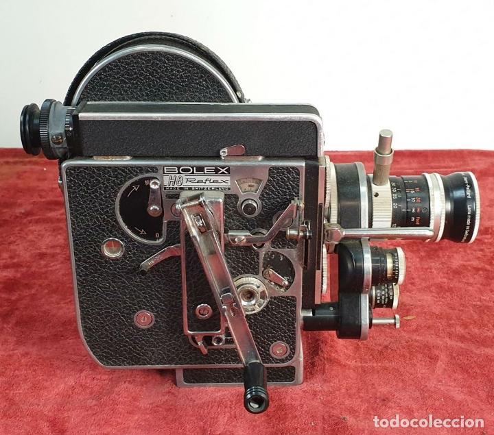 Antigüedades: CAMARA FILMADORA BOLEX PAILLARD. H8 REFLEX. MALETA ORIGINAL. SUIZA. CIRCA 1950 - Foto 3 - 195369777