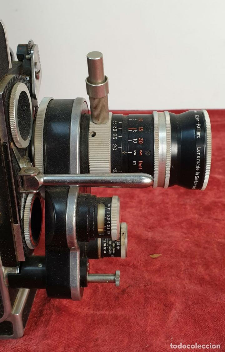 Antigüedades: CAMARA FILMADORA BOLEX PAILLARD. H8 REFLEX. MALETA ORIGINAL. SUIZA. CIRCA 1950 - Foto 4 - 195369777