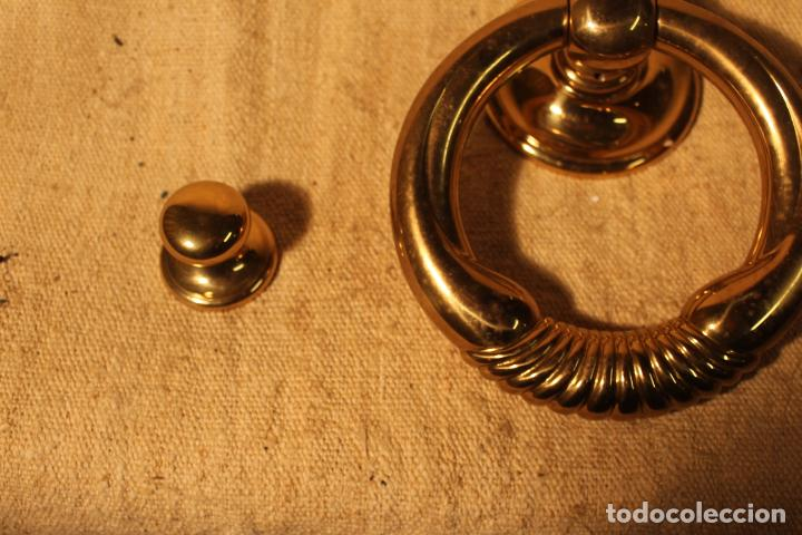 Antigüedades: tirador picaporte aldaba de bronce - Foto 3 - 195403290