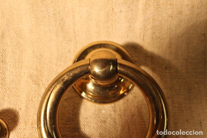 Antigüedades: tirador picaporte aldaba de bronce - Foto 4 - 195403290