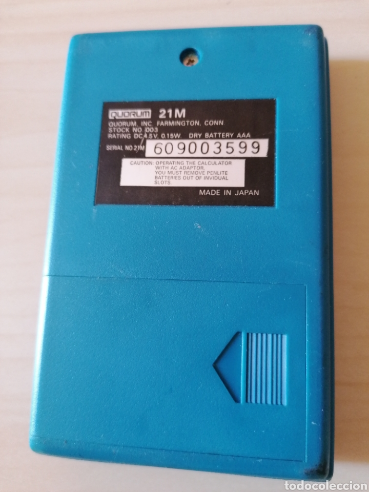 Antigüedades: Antigua y muy rara calculadora QUORUM 21 M - Made in Japan - Foto 3 - 195482430