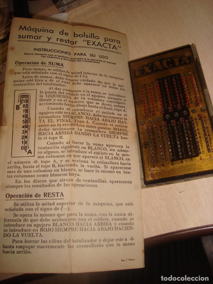 Antigüedades: antigua calculadora de bolsillo exacta con hoja de instrucciones . - Foto 2 - 195500085