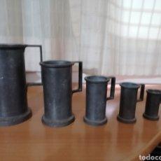 Antigüedades: JUEGO DE 6 MESURAS DE ESTAÑO. Lote 195509441