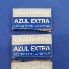 Antigüedades: GILLETTE AZUK EXTRA , 3 CAJAS DE 3 HOJAS DE CUCHILLAS DE AFEITAR. Lote 195546823