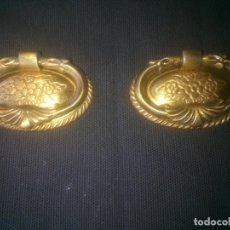 Antigüedades: TIRADORES DE BRONCE, OVALADOS CON ASA, MEDIDAS; 5 X 3 CMS.. Lote 195679155