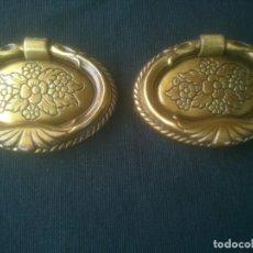 Antigüedades: TIRADORES DE BRONCE, OVALADOS CON ASA, MEDIDAS; 7 X 5 CMS.. Lote 195679507
