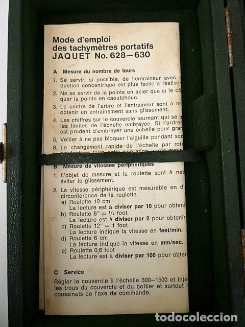 Antigüedades: TACOMETRO ANALOGICO JAQUET 628-630 - ANTIGUO MEDIDOR MECANICO DE REVOLUCIONES - Foto 4 - 195691401
