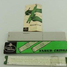Antiquités: REGLA DE CALCULO FABER CASTELL MENTOR 52/80 DE PLASTICO, EN SU ESTUCHE BEDAUX ESPAÑOLA. Lote 195733826