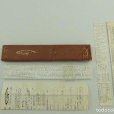 Antiquités: ANTIGUA REGLA DE CALCULO MADE IN FRANCE RAPHOPLEX BREVETE CON SU FUNDA ORIGINAL. Lote 195733992