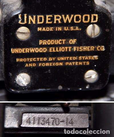 Antigüedades: Máquina de escribir UNDERWOOD 6-14 ELLIOTT-FISHER MADE IN USA - Foto 2 - 195947688
