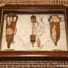 Antigüedades: ANTIGUO CUADRO MARINERO ARTESANAL , CON ESTRELLERA Y ÁNFORAS , DE LOS AÑOS 80. Lote 195999540