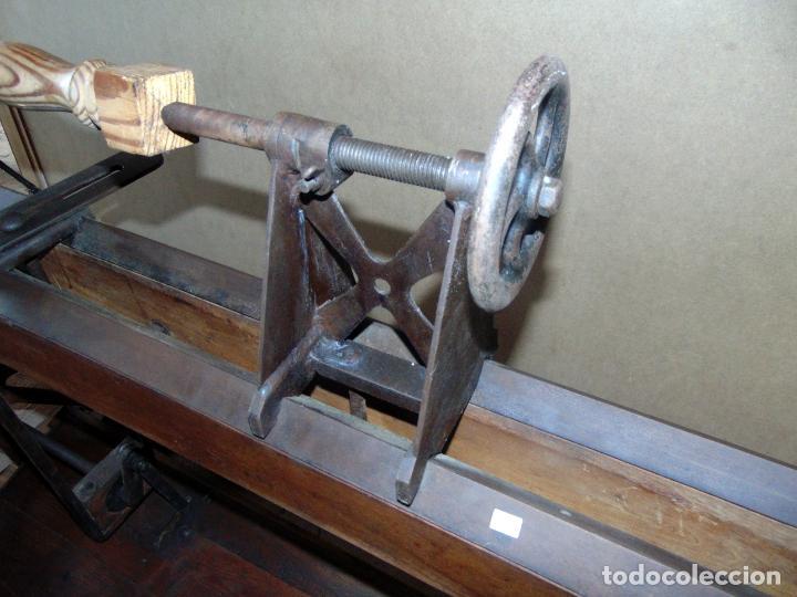 Antigüedades: espectacular banco de tornero, perfecto estado, de museo, 1,50 metros largo. w - Foto 7 - 196043687