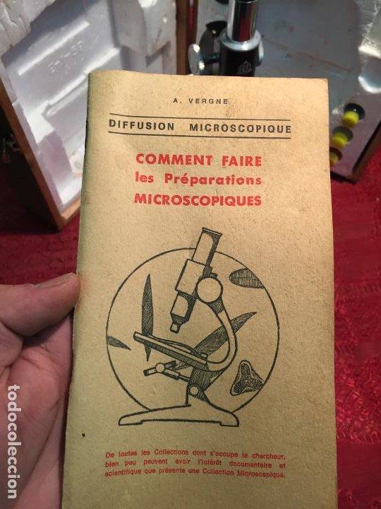 Antigüedades: Antiguo pequeño microscopio marca Hoc con caja de madera años 60 - Foto 22 - 196129007