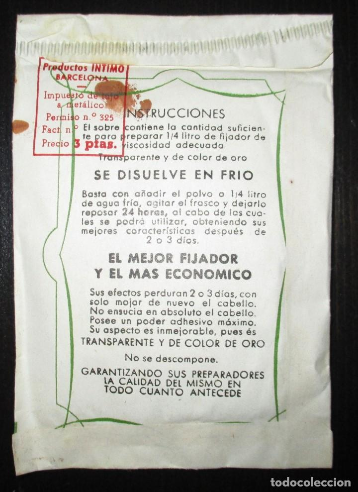 Antigüedades: ANTIGUO SOBRE DE FIJADOR JAQUE ORO EN POLVO. MUY RARO. PRODUCTOS ÍNTIMO, BARCELONA. - Foto 3 - 196155292