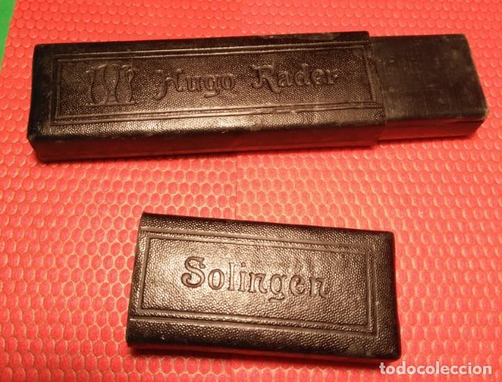 Antigüedades: Caja vacia original, estuche para navaja de afeitar o barbero: HUGO RADER , SOLINGEN, Straight Razor - Foto 2 - 196195650