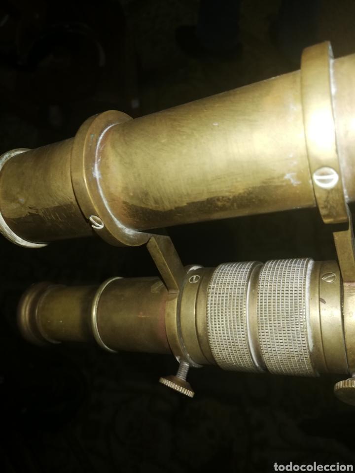 Antigüedades: Gran Catalejo de bronce con trípode.. Original de época entre finales 1800...primciio 1900.. - Foto 2 - 196356217