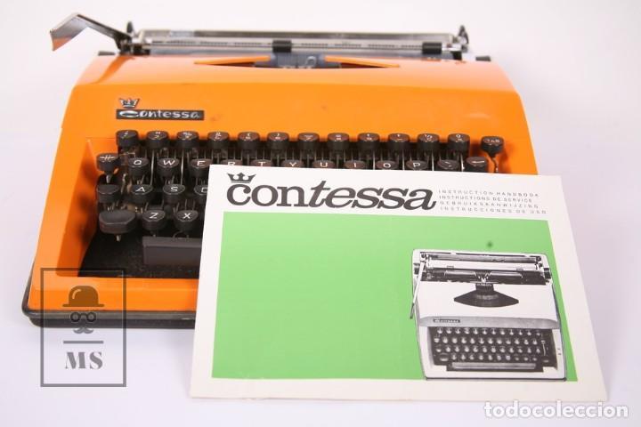 Antigüedades: Antigua Máquina de Escribir - Triumph / Contessa de Luxe - Color Naranja - Instruciones y Maletín - Foto 7 - 196502391