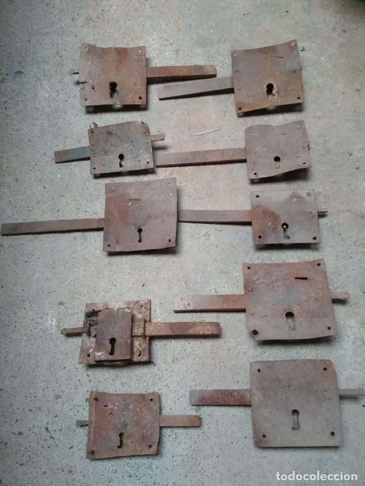 LOTE 10 CERRAJAS HIERRO FORJA ANTIGUAS (Antigüedades - Técnicas - Cerrajería y Forja - Cerraduras Antiguas)