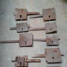 Antigüedades: LOTE 10 CERRAJAS HIERRO FORJA ANTIGUAS. Lote 196749430