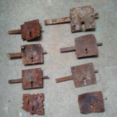 Antigüedades: LOTE 10 CERRAJAS HIERRO FORJA ANTIGUAS. Lote 196753676