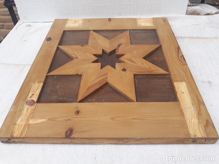 Antigüedades: 2.- TABLERO DE MADERA MACIZA EN TRACERIA ARABE - CARPINTERIA ARTESANA. - Foto 9 - 196976798