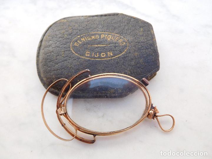GAFAS PLEGABLES ANTIGUAS DE ORO 14K CON SU FUNDA ORIGINAL BENIGNO PIQUERO GIJON (Antigüedades - Técnicas - Instrumentos Ópticos - Gafas Antiguas)