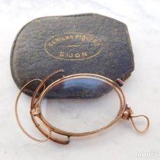 Antigüedades: GAFAS PLEGABLES ANTIGUAS DE ORO 14K CON SU FUNDA ORIGINAL BENIGNO PIQUERO GIJON. Lote 197037097