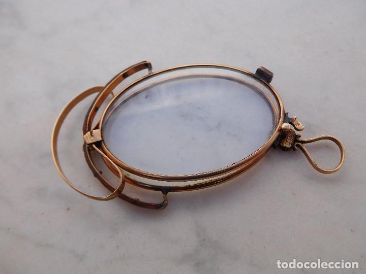 Antigüedades: Gafas plegables antiguas de oro 14k con su funda original Benigno Piquero Gijon - Foto 2 - 197037097