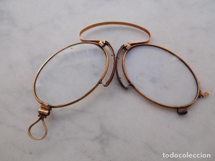 Antigüedades: Gafas plegables antiguas de oro 14k con su funda original Benigno Piquero Gijon - Foto 4 - 197037097