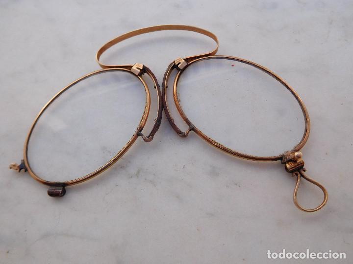 Antigüedades: Gafas plegables antiguas de oro 14k con su funda original Benigno Piquero Gijon - Foto 5 - 197037097