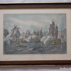 Antigüedades: LITOGRAFIA GRABADO NAVAL MARINO BATALLA DE TRAFALGAR - LA DIVINA TRINIDAD. Lote 197063742
