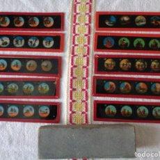 Oggetti Antichi: 10 CRISTALES DE LINTERNA MAGICA, ANTIGUO ALEMAN. Lote 197080943