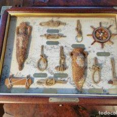 Antigüedades: CAJA DE MADERA CON NUDOS MARINEROS, GUARDA LLAVES, MADERA TROPICAL HERRAJES LATON. Lote 197128818