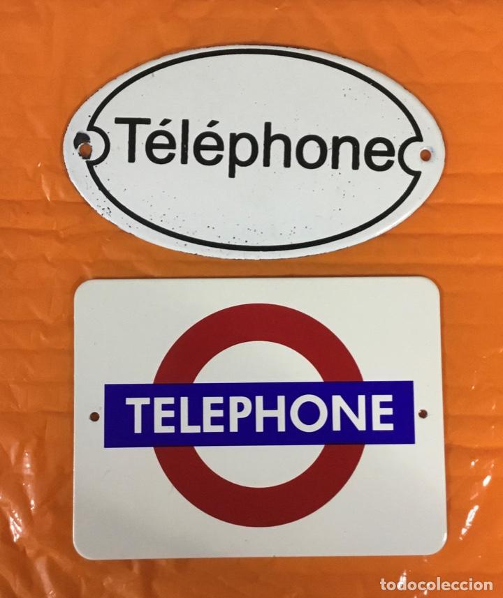 LOTE DE DOS PEQUEÑAS PLACAS ESMALTADAS TELEPHONE (Antigüedades - Técnicas - Teléfonos Antiguos)