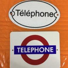 Teléfonos: LOTE DE DOS PEQUEÑAS PLACAS ESMALTADAS TELEPHONE. Lote 197396882