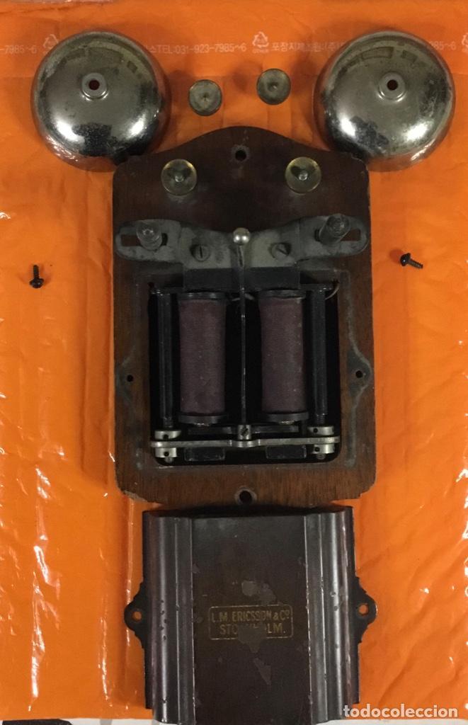 Teléfonos: Antiguo y excelente timbre madera y campanas, uso telefónico, original, de la casa sueca LM Ericsson - Foto 2 - 197401993