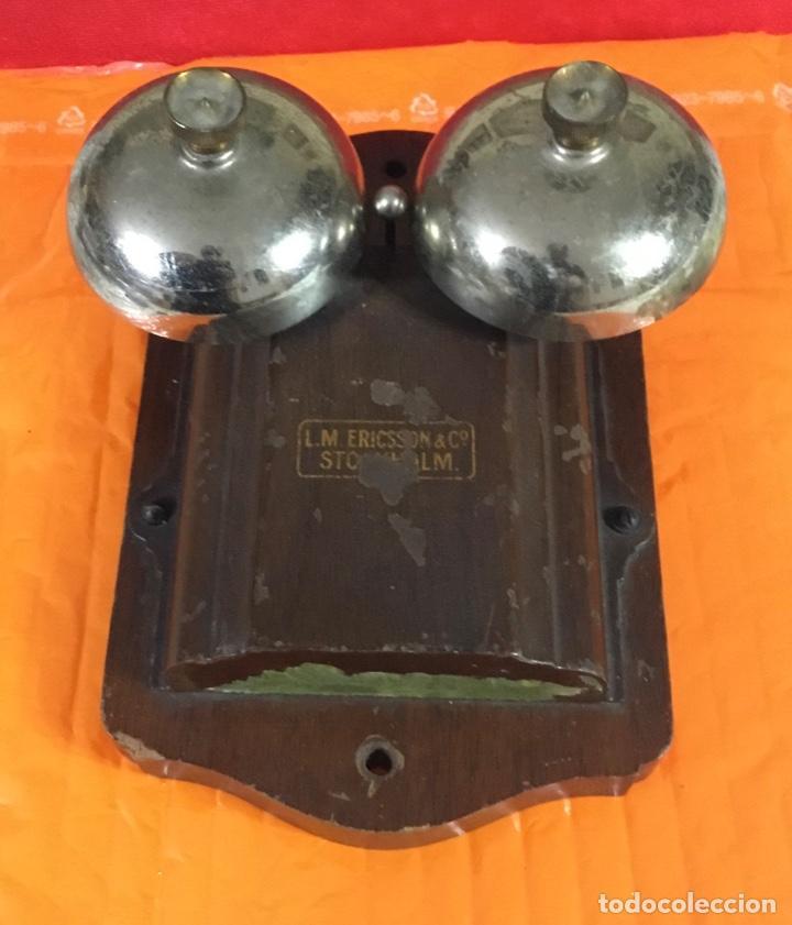 Teléfonos: Antiguo y excelente timbre madera y campanas, uso telefónico, original, de la casa sueca LM Ericsson - Foto 9 - 197401993